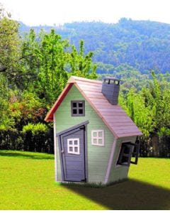 Casa jardin outdoor toys infantil knh1015 madera verde/gris/madera