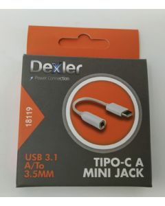 Cable multimedia tipo c a mini jack hembra usb 3.1 12,5cm dexler