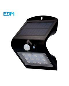 Aplique ilumin solar recargable s/mov 1,5w 220lm pl ne edm
