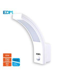Aplique ilumin ext con sensor 10w 750lm 6400k ip54 pl bl edm