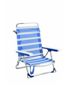 Silla playa cama baja con asa aluminio/fibreline azul/blanco alco 6075alf-1556