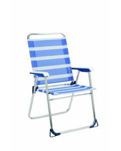 Sillon playa fijo aluminio/fibreline azul/blanco alco