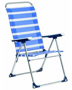 Hamaca playa aluminio/fibreline azul/blanco alco