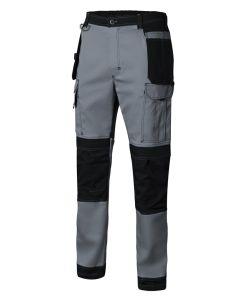 Pantalon trabajo multibolsillos con refuerzo l 98%algodón 2%elastano gris/negro