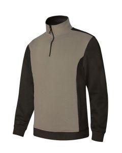 Sudadera trabajo media cremallera xxl 65%poliester 35%algodón beige/negro p10570