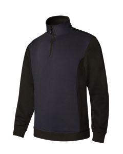 Sudadera trabajo media cremallera l 65%poliester 35%algodón azul navy/negro p105