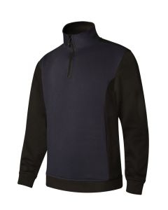 Sudadera trabajo media cremallera m 65%poliester 35%algodón azul navy/negro p105