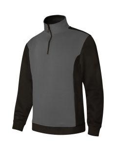 Sudadera trabajo media cremallera l 65%poliester 35%algodón gris/negro p105703 v