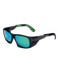 Gafa anti-impacto ocular anti-uv-rayad-vaho nylon/policarbonato negro/verde 5x9
