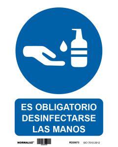 Cartel señalizacion adhesivo 200x300mm vinilo blanco/azul desinfectar manos normaluz