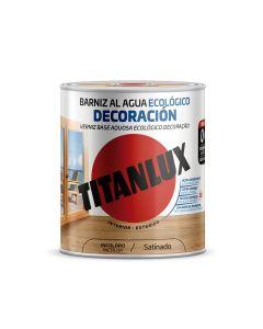 Barniz madera satinado roble 250 ml al agua ecologico interior/exterior titanlux m21100214