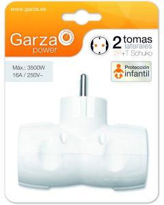 Adaptador 2 tomas protección infantil 3500w garza 90x127x165mm