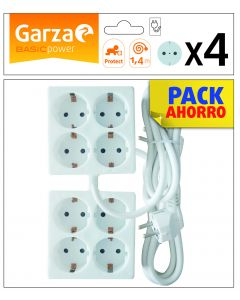 Base multiple 4 tomas cable 1,4m 3680w garza 235x196x380mm
