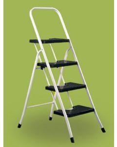 Escalera domestica barandilla baja 4 peldaños 0,89mt acero blanco vervi