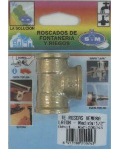"Conector fontaneria en t h-h-h 1/2"" laton s&m 200243"