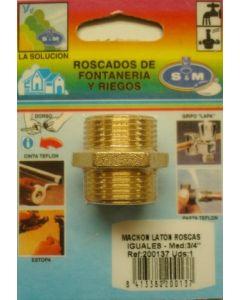 "Contrarrosca fontaneria roscas iguales m-m 3/4"" laton s&m 200137"