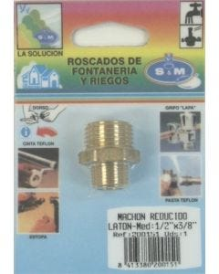 "Contrarrosca fontaneria reducida m-m 1/2""x3/8"" laton s&m 200151"
