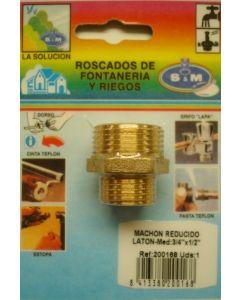 "Contrarrosca fontaneria reducida m-m 3/4""x1/2"" laton s&m 200168"