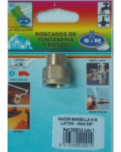 "Racor fontaneria h-m 3/8"" laton s&m 200014"
