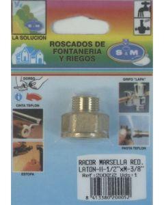 "Racor fontaneria h-m 1/2""x3/8"" laton s&m redondo 200052"