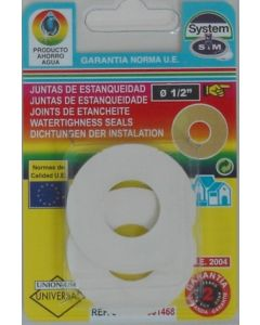 "Junta fontaneria plana lavabo 2pz 1/2"" goma s&m 2 pz 001468"