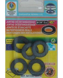 "Junta fontaneria plana 5pz 3/4"" goma s&m 5 pz 001734"