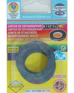 "Junta fontaneria plana 5pz 1""1/2 goma s&m 5 pz 001758"