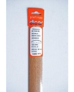 Pletina perfilada media caña adhesivo 83x3,5mm acero inox roble dicar