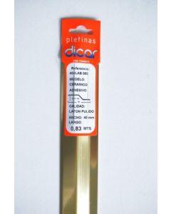 Pletina perfilada distinto nivel adhesivo 83x4mm acero inox laton dicar