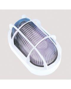 Aplique iluminacion blanco pvc fenoplastica exterior oval rejilla plastico e 7440 b