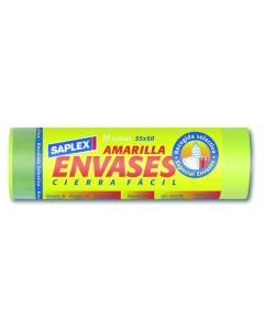Bolsa basura envases 55x60 cm 15 pz plastico amarilla saplex