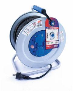 Enrollacable electricidad 3 tomas tt termostato 3x2,5mm 50mt 4000w ip55 metal ta