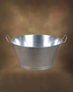"Barreño agua redondo con asas 12"" metal galvanizado manuel soler 01110012"