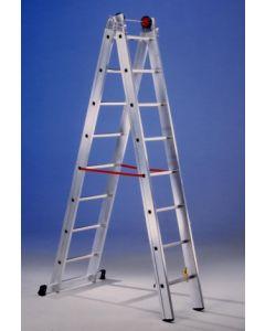 Escalera industrial doble con base 8 peldaños 2,40/4,05mt aluminio svelt