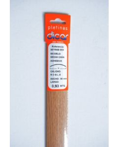 Pletina perfilada media caña adhesivo 93x3,5mm acero inox roble dicar