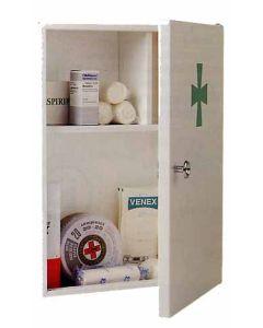 Botiquin primeros auxilios puerta con tirador 400x300x120mm acero btv