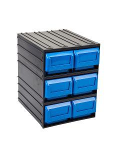 Contenedor ordenacion herramientas 06 cajones 245x291x321mm plastico negro/azul