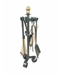 Juego chimenea calefaccion h.70cm hierro forjado+laton negro mate merida vivahogar 6 pz vh62791