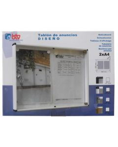 Tablon anuncios 46x35cm btv natural aluminio 00132