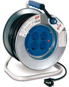 Enrollacable electricidad 4 tomas tt termostato 3x1,5mm 50mt 3500w ip20 255mm metal tayg