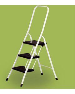 Escalera domestica barandilla alta 3 peldaños 0,67mt acero blanco vervi