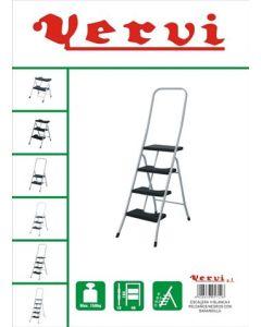 Escalera domestica barandilla alta 4 peldaños 0,89mt acero blanco vervi