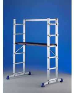 Escalera industrial 2 tramos 5 peldaños aluminio tecno svelt