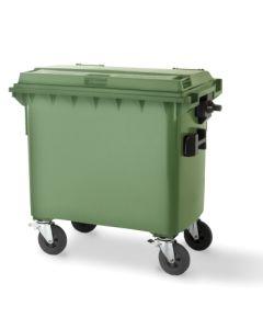 Contenedor basura con ruedas y pedal tapa plana 770lt plastico verde w-weber 04013-5