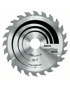 Disco corte madera 24 dientes 190x2,6x30 mm widia bosch
