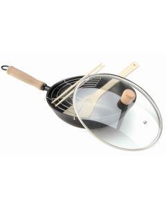 Sarten cocina wok tapa cristal pinzas madera 28cm acero oroley