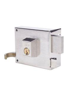 Cerradura sobreponer picaporte y palanca derecha 100x50mm hierro niquelado 125100dhn yale 125100dhn
