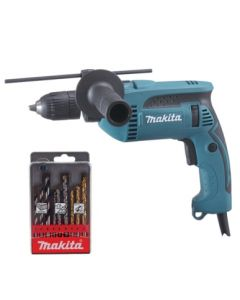 Taladro percutor 680w reversible sin llave maletin 13 mm hp1641k1x makita
