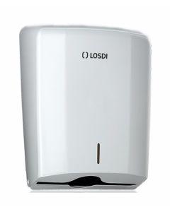 Dispensador baño industrial papel zig-zag capacidad 600pz abs blanco losdi cp0106b