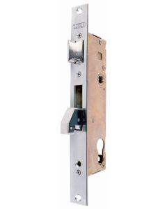 Cerradura metalica embutir picaporte y gancho cil.euro leva 13,25mm 25x25mm inox